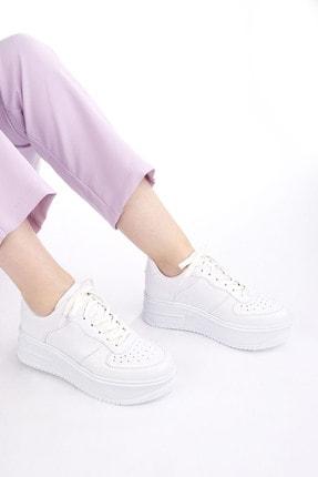 Marjin Kadın Sneaker Dolgu Topuk Spor Ayakkabı PinleBeyaz 3