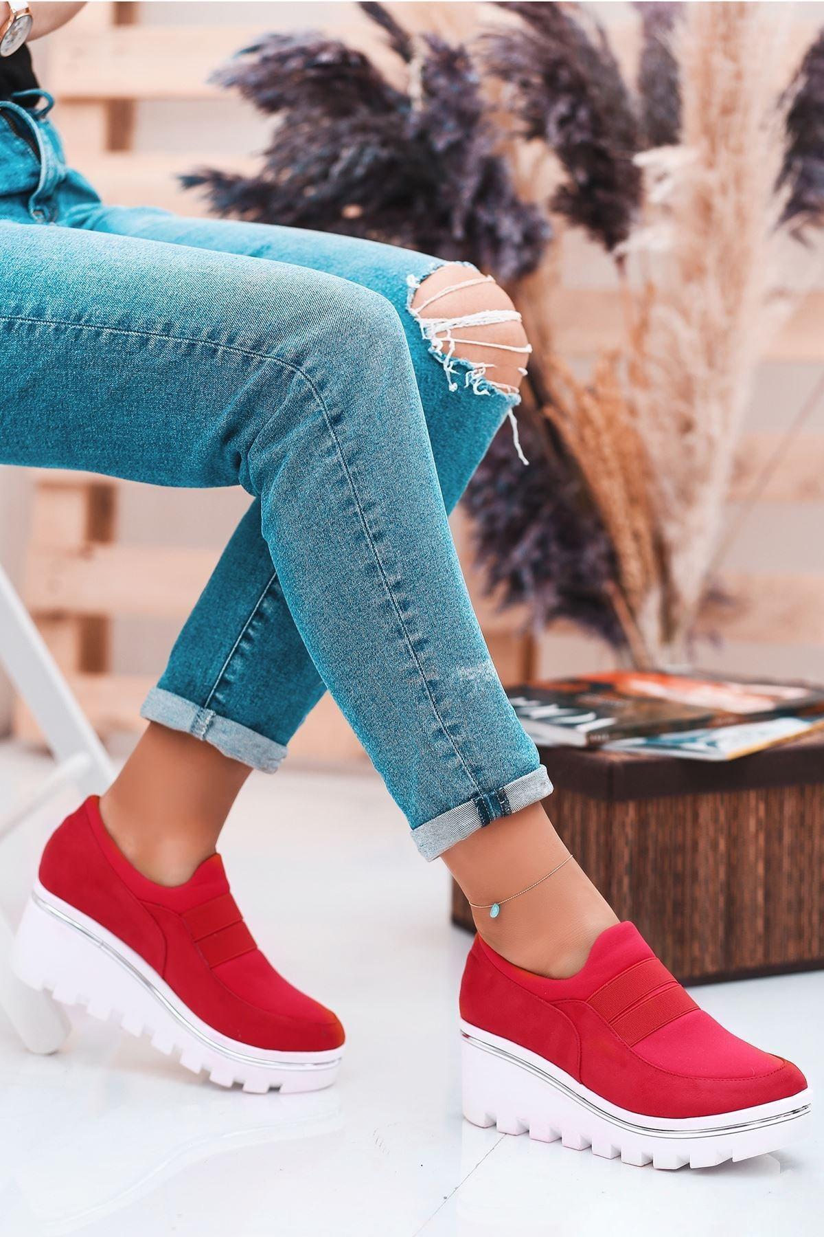 Kadın Kırmızı Lastik Dolgu Topuk Ayakkabı