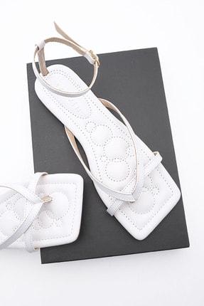 Marjin Kadın Beyaz Parmak Arası Sandalet Parfi 0