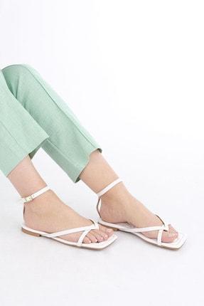 Marjin Kadın Beyaz Parmak Arası Sandalet Parfi 1