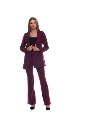 Kadın Mürdüm Blazer Ceket İspanyol Paça Takım 555001