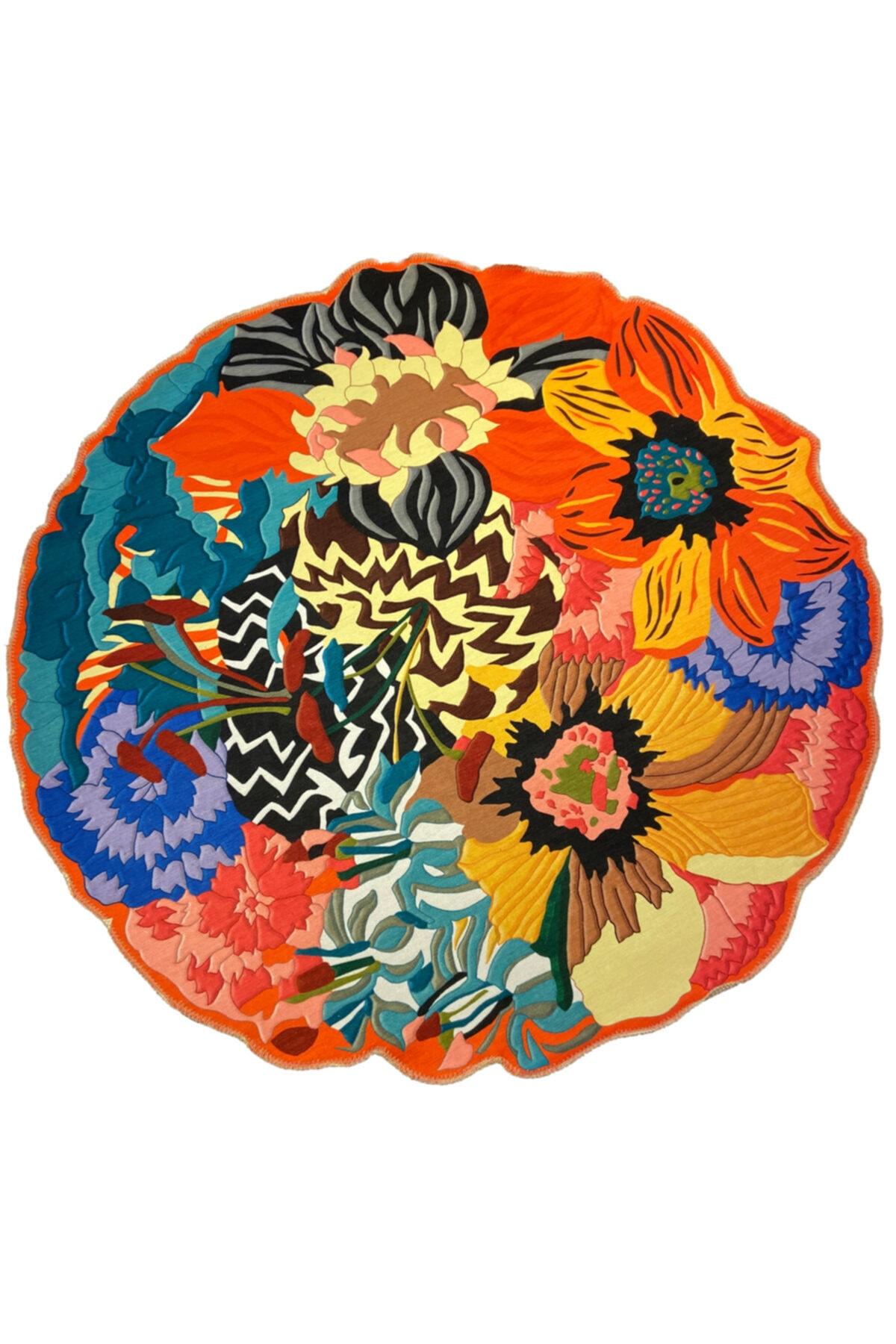 Çiçek Desen Dekoratif Kaymaz Taban Çap Yıkanabilir Halı