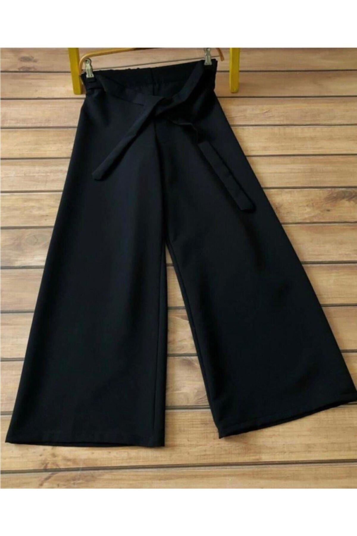 Kadın Siyah Belden Lastikli Ve Kuşaklı Bol Pantolon