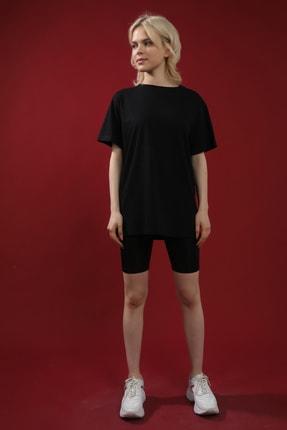 Grenj Fashion Siyah %100 Pamuk Bisiklet Yaka Boyfriend Örme Tshirt 1
