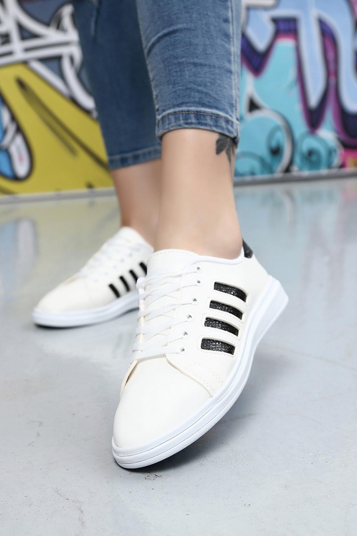 Du Jour Paris Beyaz Siyah Kadın Sneaker 4000-19-101001