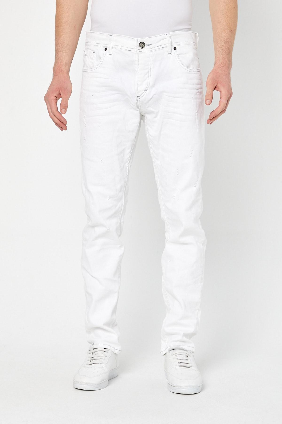 Erkek Beyaz Slim Fit Destroylu Pantolon -byfpntr0241