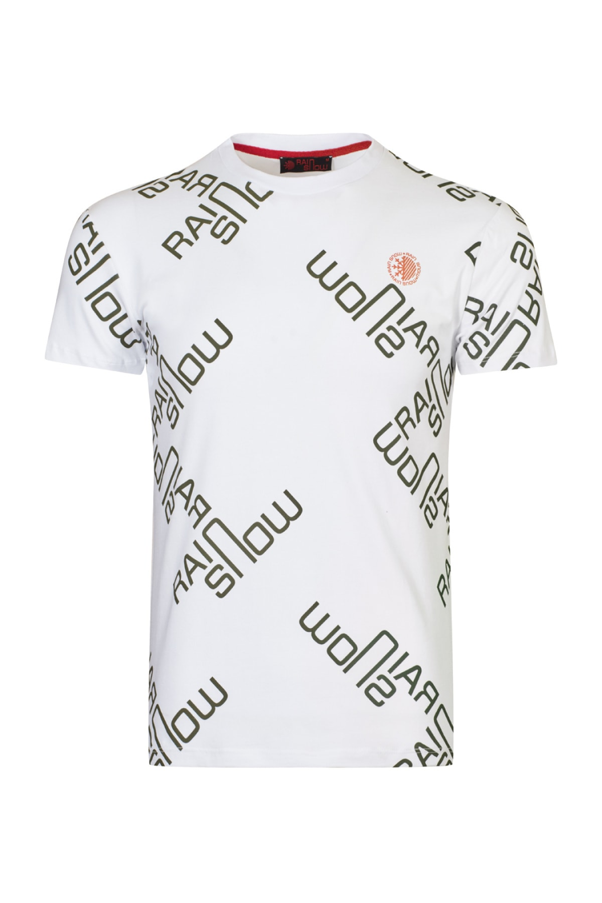 Erkek Beyaz Yeşil Sıfır Yaka T-shirt