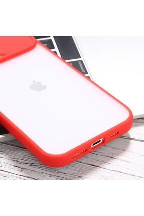 """Teknoçeri Iphone 11 6.1"""" Uyumlu Kamera Lens Korumalı Sürgülü Kırmızı Kılıf 4"""