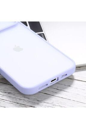 """Teknoçeri Iphone 11 6.1"""" Uyumlu Kamera Lens Korumalı Sürgülü Lila Kılıf 4"""