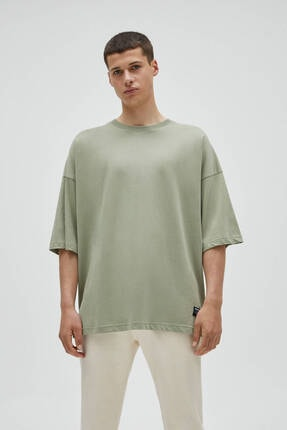Pull & Bear Erkek Haki Basic Kısa Kollu Loose Fit T-shirt 0