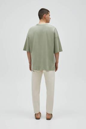 Pull & Bear Erkek Haki Basic Kısa Kollu Loose Fit T-shirt 3