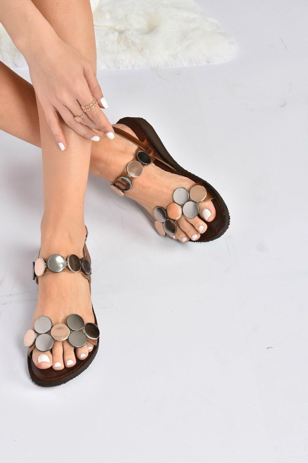 Kadın Taba Hakiki Deri Sandalet K374680603