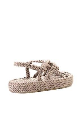 Bambi Vizon Kadın Hasır Sandalet K05787020476 4