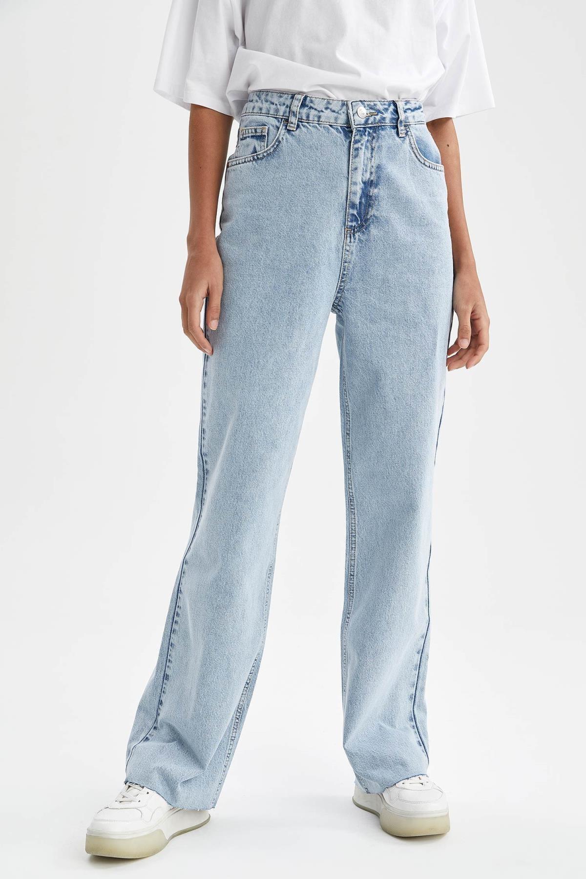 Kadın Mavi 90's Geniş Paça Yüksek Bel Jean Pantolon