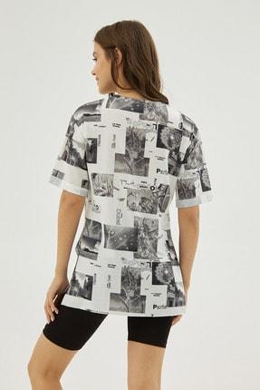 Pattaya Kadın Beyaz Gri Desenli Yırtmaçlı Oversize Kısa Kollu Tişört P21s201-2121 3