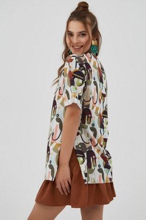 Pattaya Kadın Kahverengi Yırtmaçlı Oversize Kısa Kollu T-Shirt 3