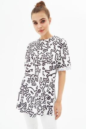 Pattaya Kadın Yırtmaçlı Oversize Kısa Kollu Tişört P21s201-2121 1