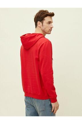 Koton Erkek Kırmızı Kapüşonlu Pamuklu Uzun Kollu Basic Sweatshirt 1yam71750lk 3