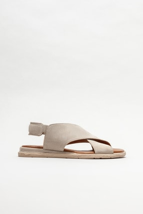 Elle Kadın Bej Deri Düz Sandalet 0