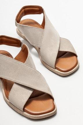 Elle Kadın Bej Deri Düz Sandalet 2