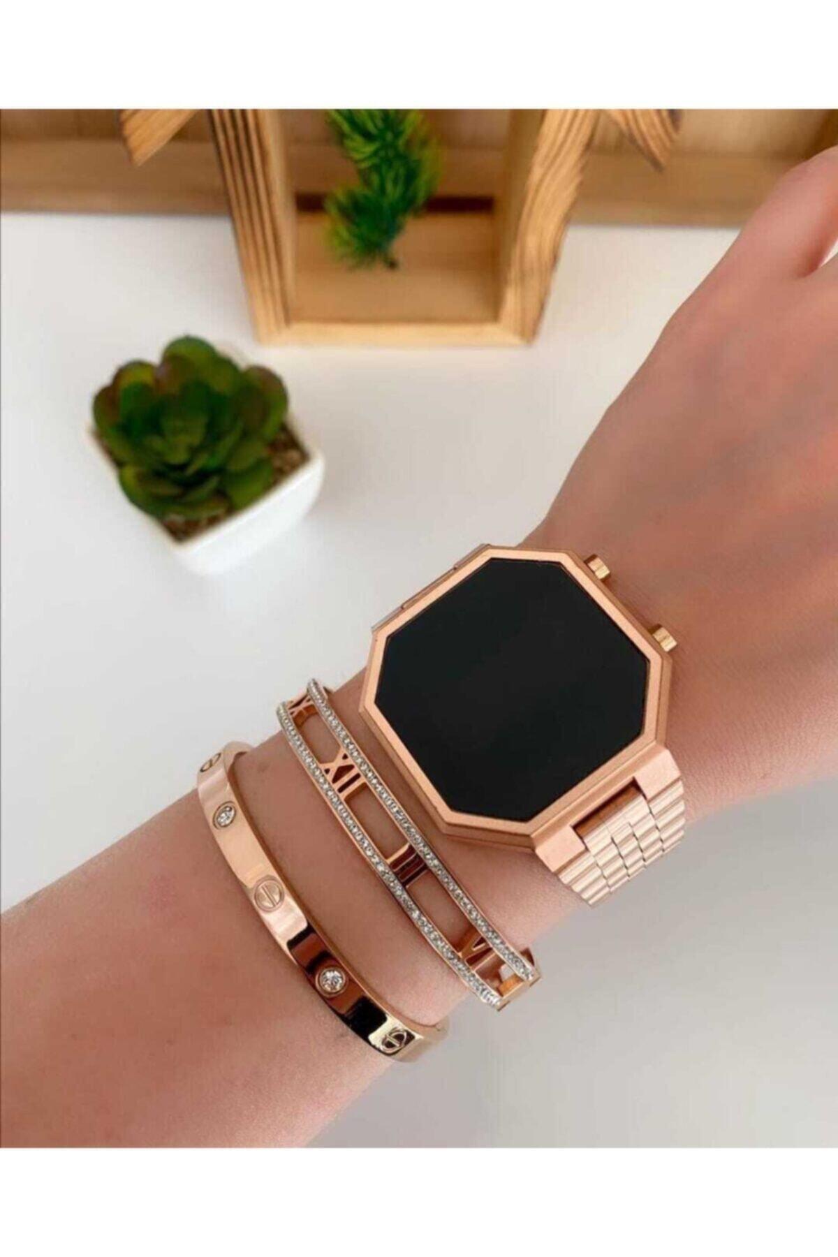 Yeni Model Rose Gold Renk Led Watch Dijital Çelik Kasa Unisex Kol Saati