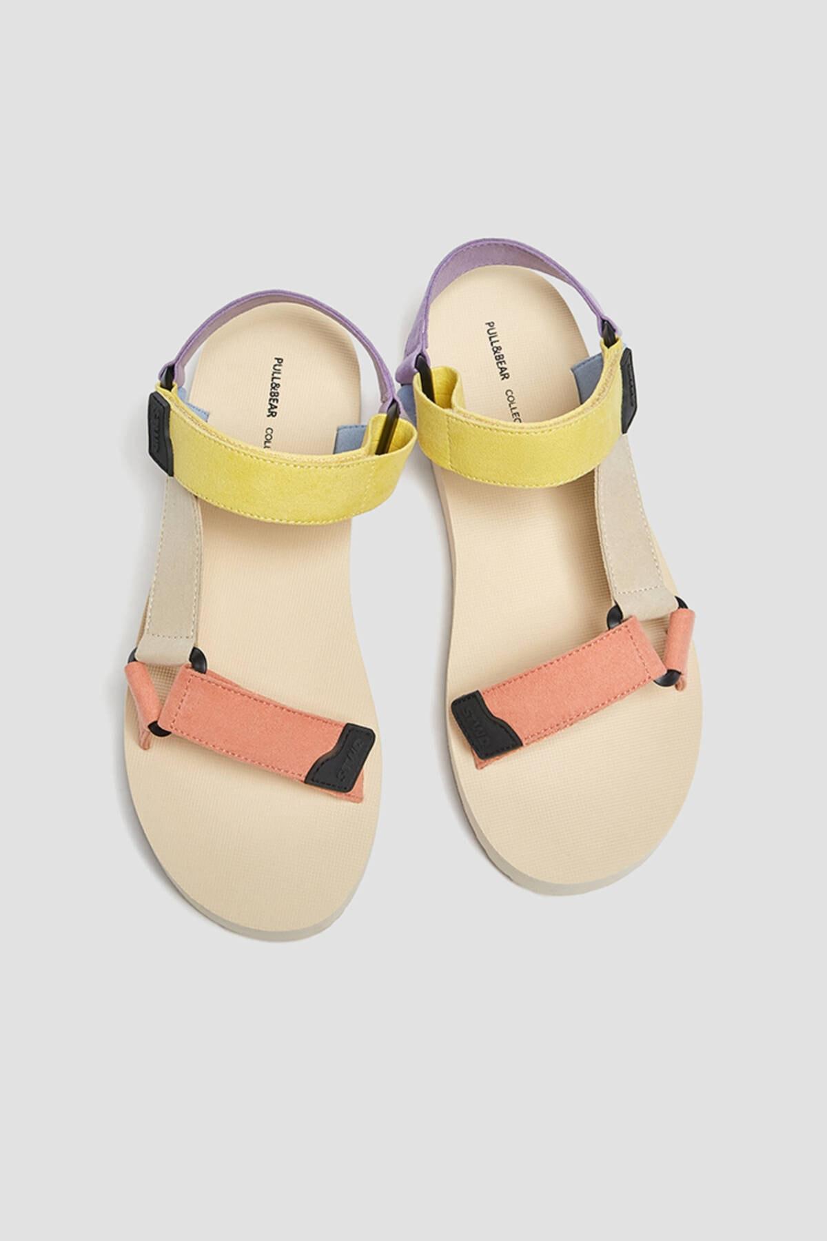 Pull & Bear Kadın Çok Renkli Çok Renkli Spor Sandalet 11708740 3