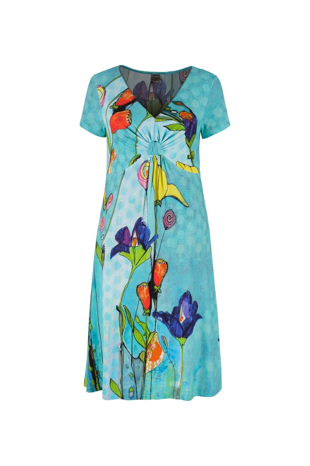 Belden Düğümlü Çiçek Desenli Midi Elbise