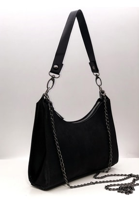 Rimense Kadın Siyah Baget Krom Görünümlü Zincirli Çanta 1