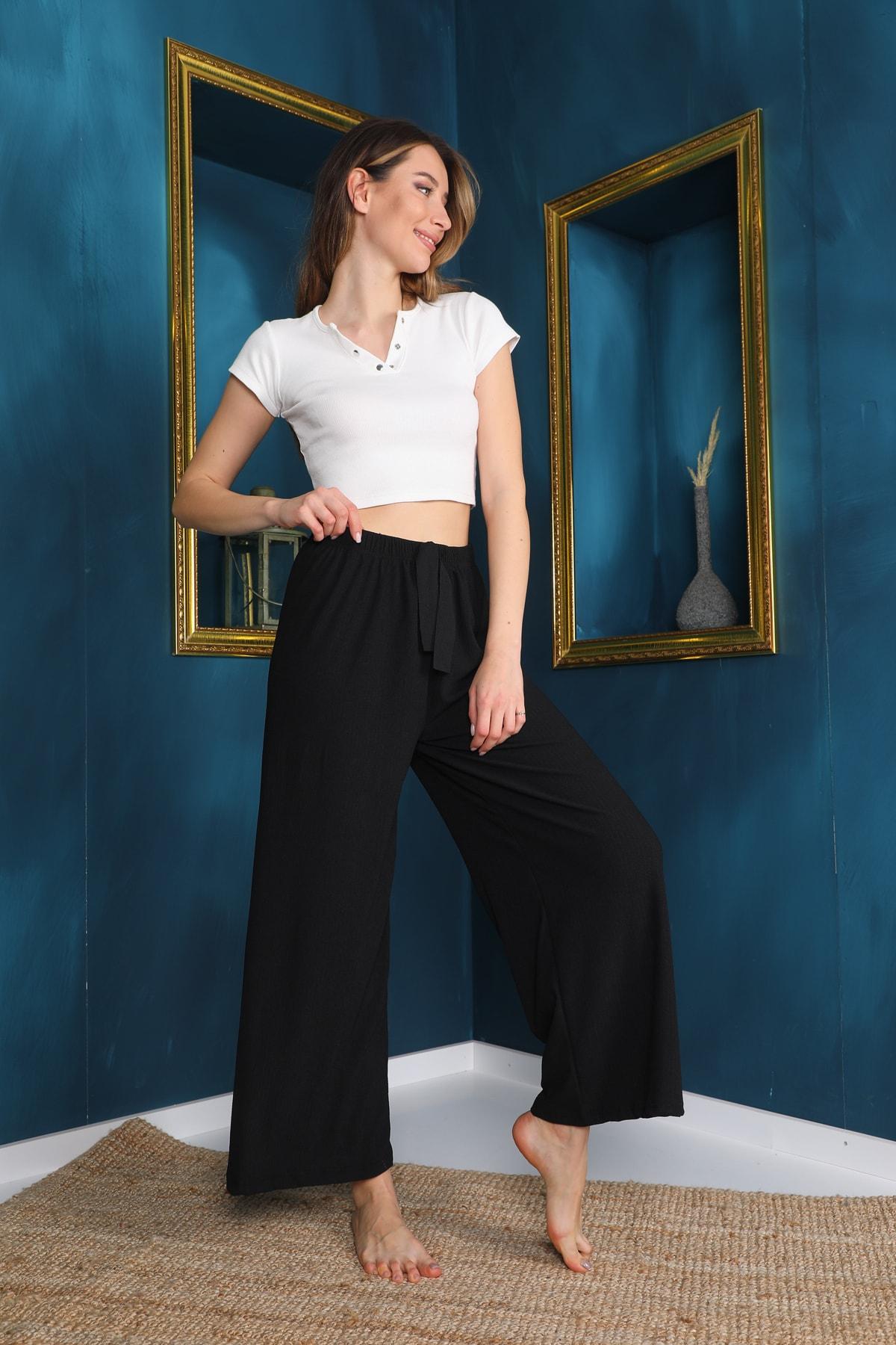 Kadın Beli Lastikli Bol Paça Bürümcük Pantolon