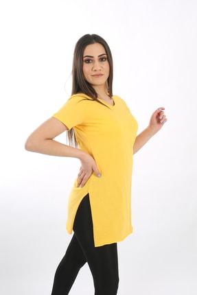 SARAMODEX Kadın Sarı V Yaka Düz Renk Basic Tişört 0