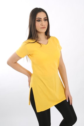 SARAMODEX Kadın Sarı V Yaka Düz Renk Basic Tişört 2