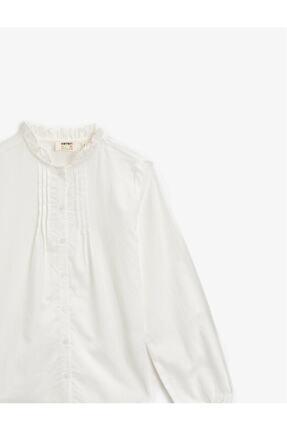 Koton Kız Çocuk Beyaz Dik Yaka Düğmeli Uzun Kollu Pamuklu Gömlek 2