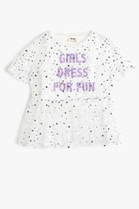 Koton Koton Ekru Kız Çocuk T-shirt 0ykg17966ak 0