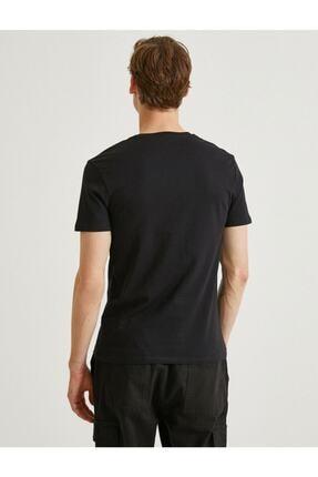 Koton Erkek Siyah Yazılı Kısa Kollu T-Shirt 3