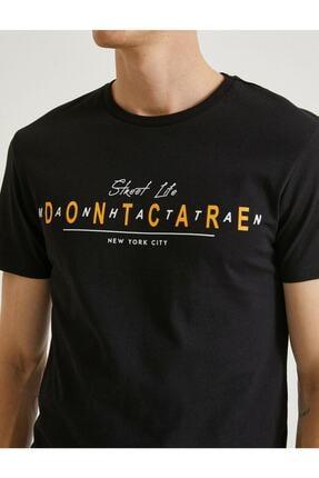 Koton Erkek Siyah Yazılı Kısa Kollu T-Shirt 4