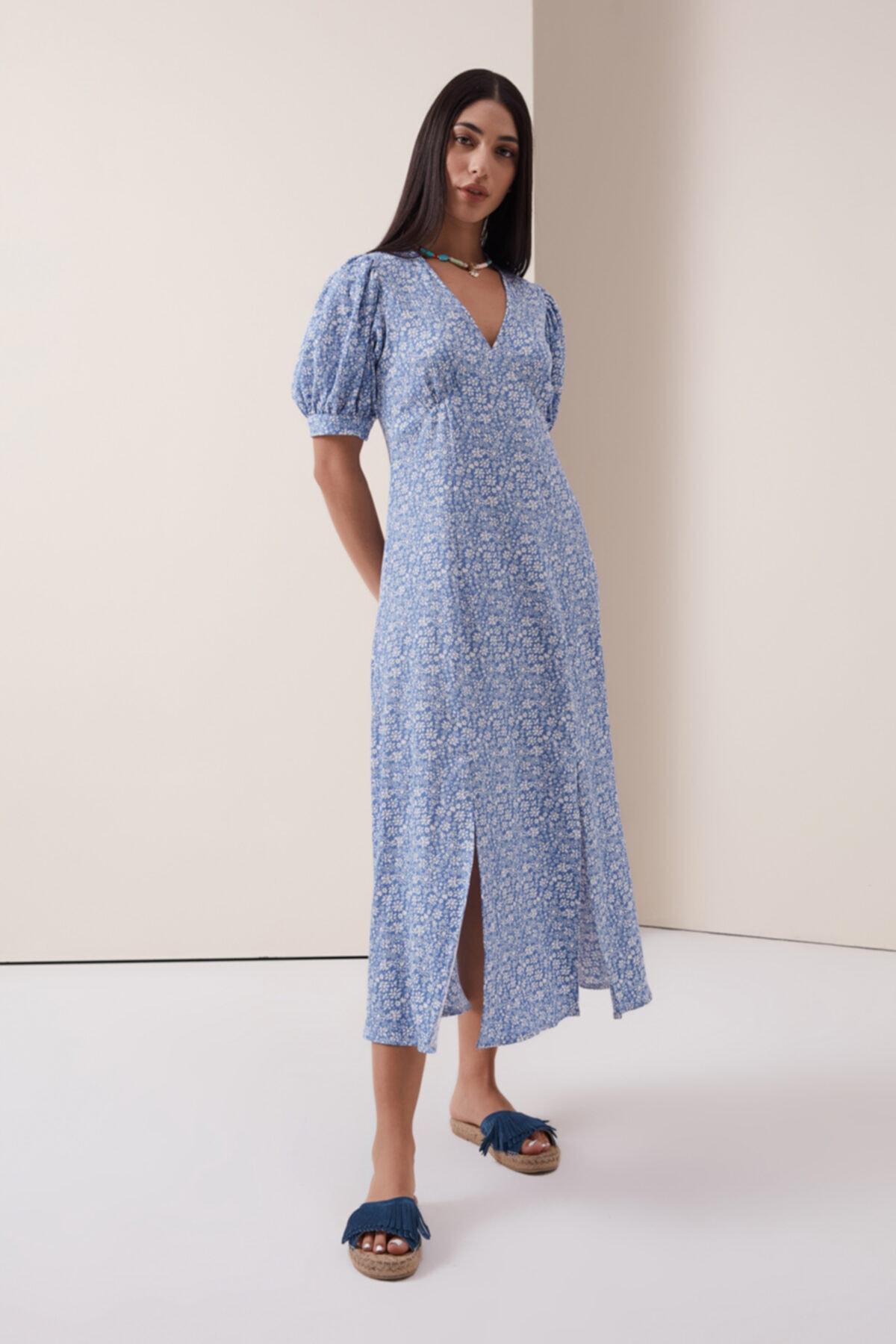 Çıtır Çiçek Desenli V Yaka Elbise - Mavi