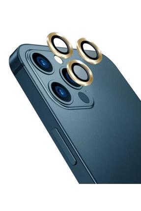 Cep prime Iphone 12 Pro Uyumlu Max ???4 Katmanlı Metal Nano Sistem Tam Koruma Sistem Lens Gold 0