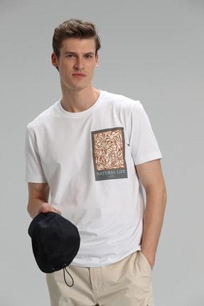 Lufian Mark Modern Grafik T- Shirt Beyaz 0