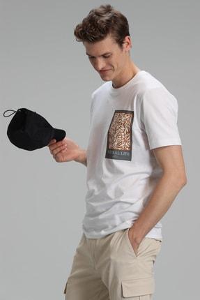 Lufian Mark Modern Grafik T- Shirt Beyaz 1