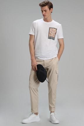 Lufian Mark Modern Grafik T- Shirt Beyaz 2