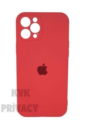 KVK PRİVACY Iphone 12 Pro Max (6.7) Kırmızı Kamera Koruyuculu Logolu Lansman Kılıf 0
