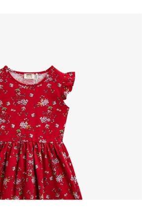Koton Kız Çocuk Kırmızı Çiçekli Bisiklet Yaka Elbise 2