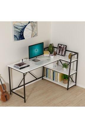 MORDEKA Kitaplıklı Çalışma Masası Bilgisayar Masası Beyaz 3
