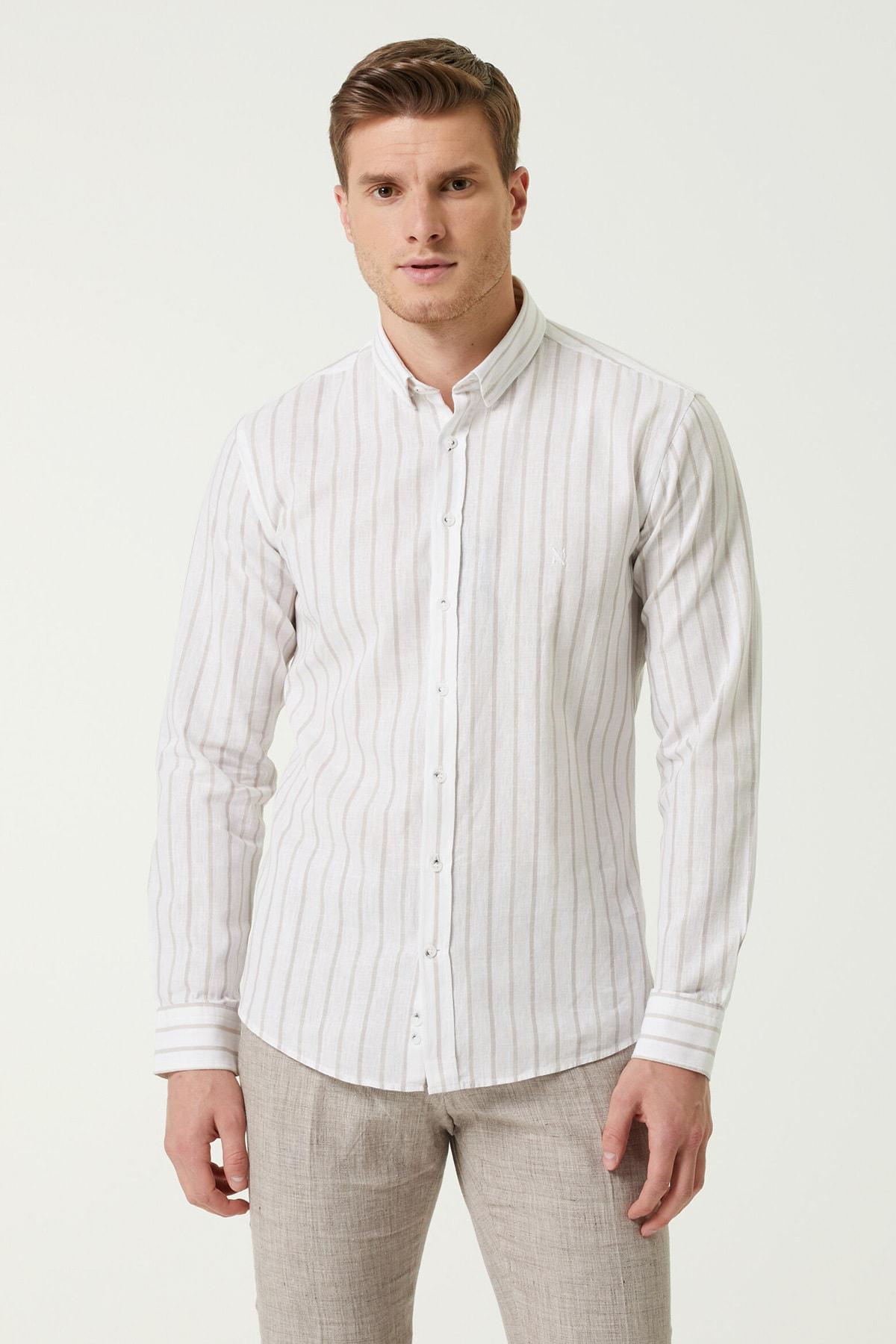 Erkek Slim Fit Beyaz Çzigili Gömlek 1079746