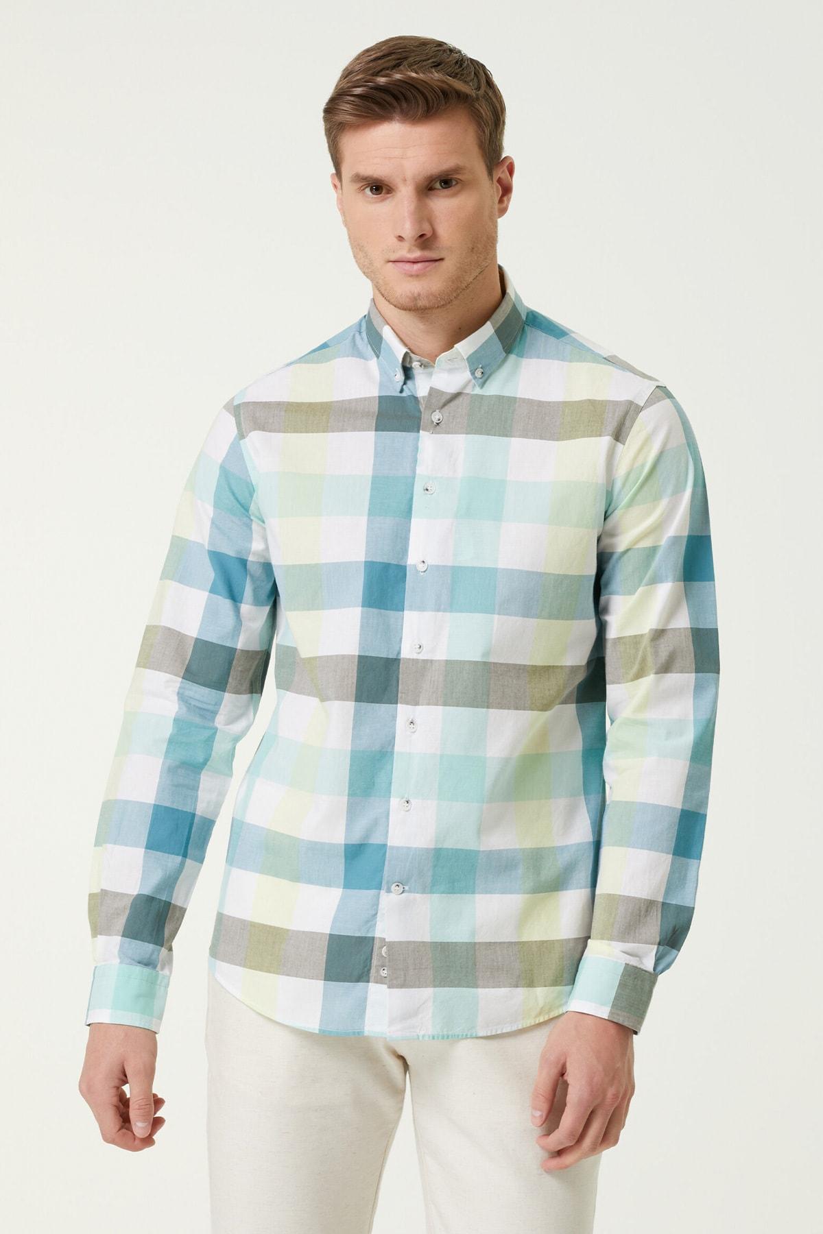Erkek Slim Fit Mavi Ekose Desenli Gömlek 1079844