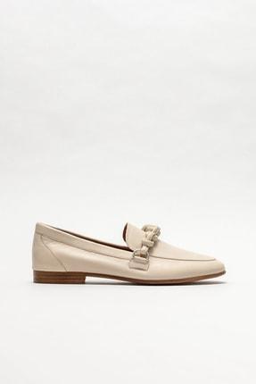 Elle Kadın Bej Deri Loafer Ayakkabı 0