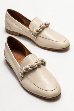 Elle Kadın Bej Deri Loafer Ayakkabı 1