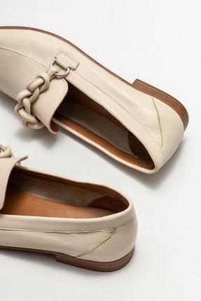 Elle Kadın Bej Deri Loafer Ayakkabı 3
