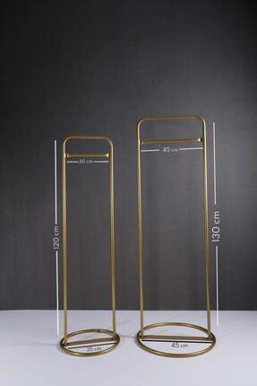 Fec Reklam Metal Ayaklı Konfeksiyon Askılığı Gold Elbise Askılık 2'li 2