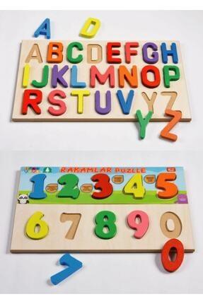 Türk Toys Ahşap Puzzle Alfabe Sayılar Blok Seti 0